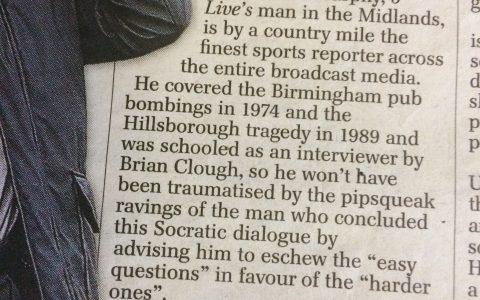 Matthew Norman column - Daily Telegraph