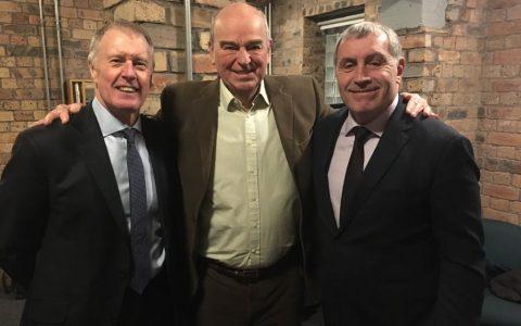 Sir Geoff Hurst (left) and Peter Shilton