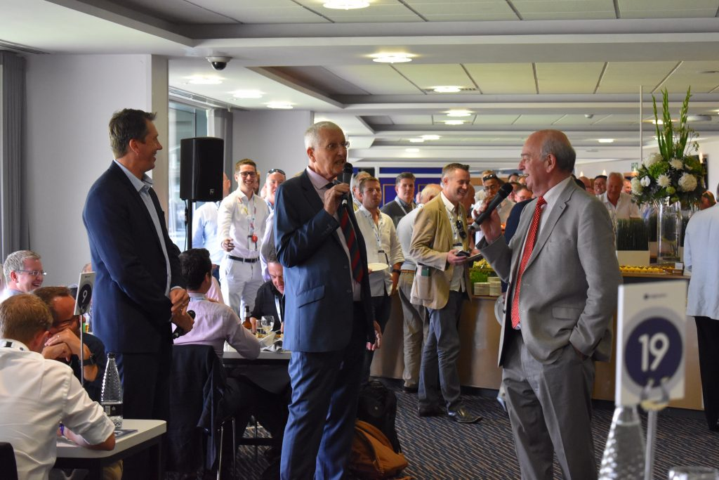 With Glenn McGrath and Bob Willis (centre) chatting about the 2019 Ashes series at the  Edgbaston Test.