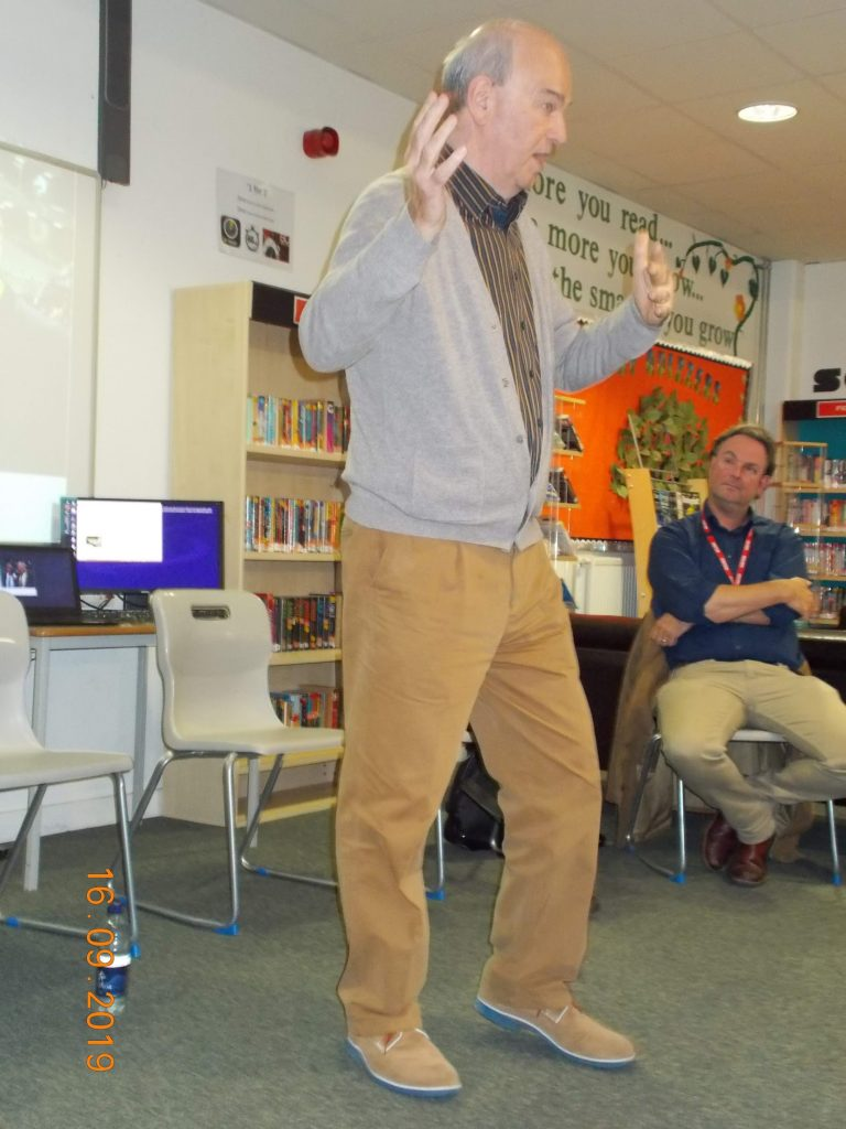 Speaking at a careers seminar at South Bromsgrove High,September 2019