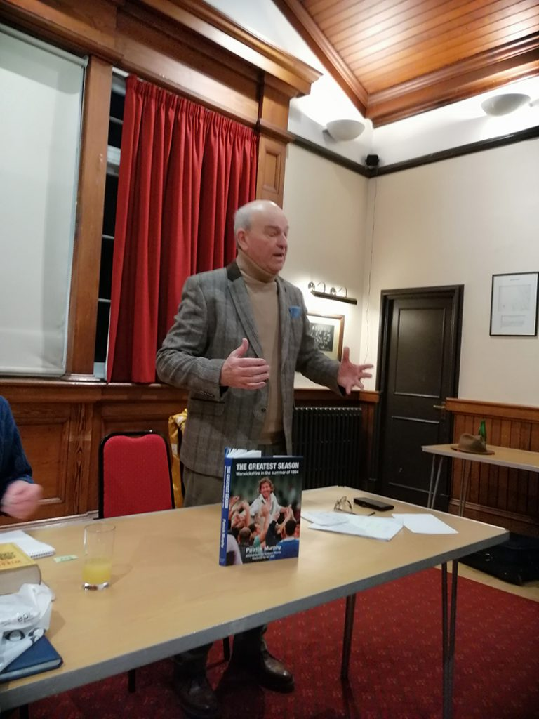 Talking about my latest book The Greatest Season to the Cricket Society of Scotland in Edinburgh